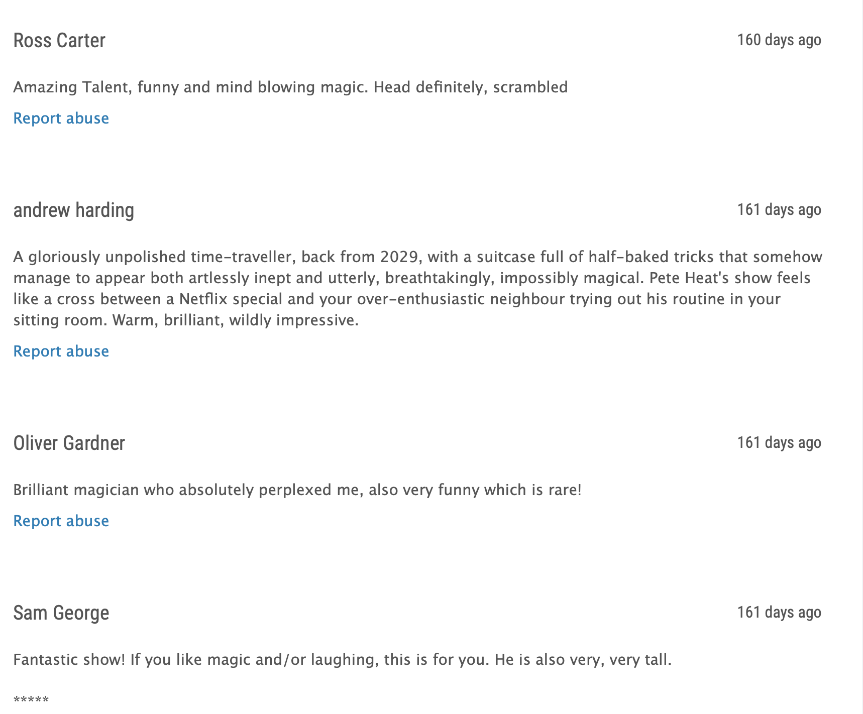 Some audience reviews of my comedy magician Fringe show
